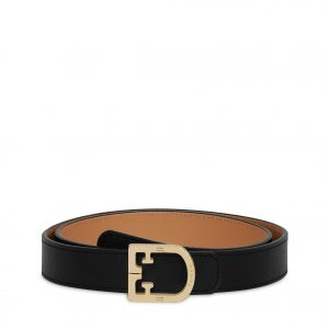 Furla Belvedere M Woman's Belt (Large) - Onyx