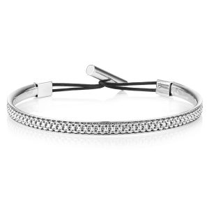 Buckley London For Men - Textured Bangle - Rhodium